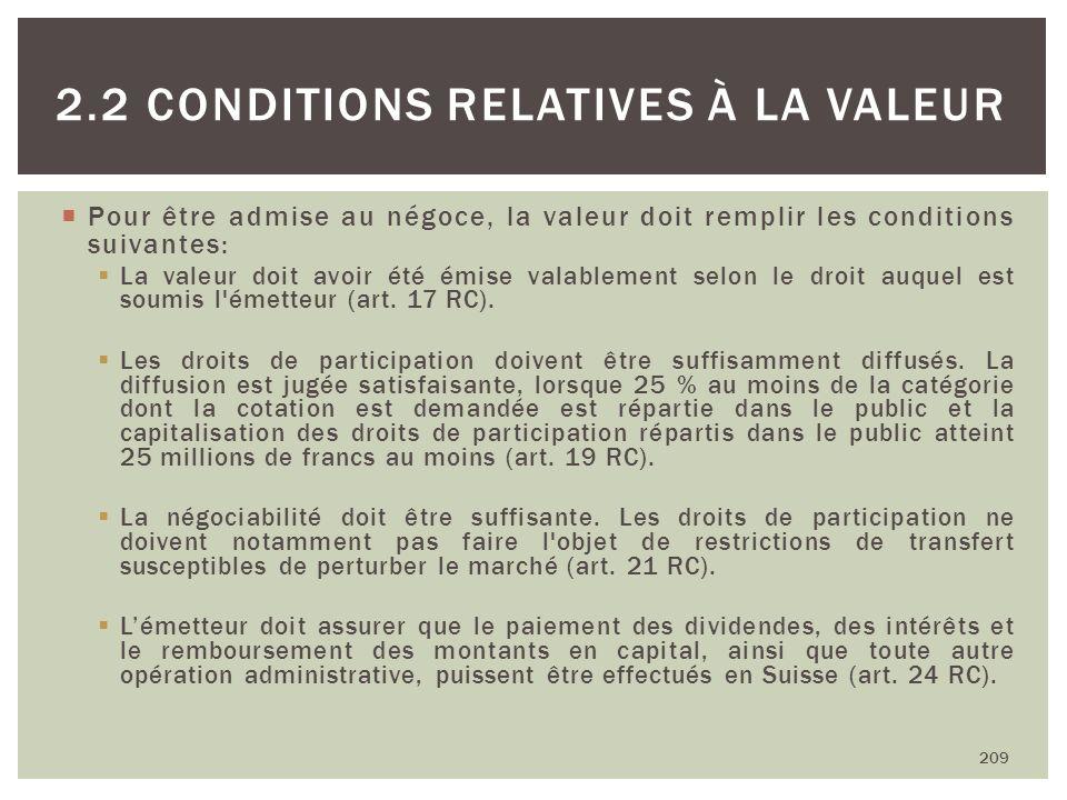 Pour être admise au négoce, la valeur doit remplir les conditions suivantes: La valeur doit avoir été émise valablement selon le droit auquel est soum