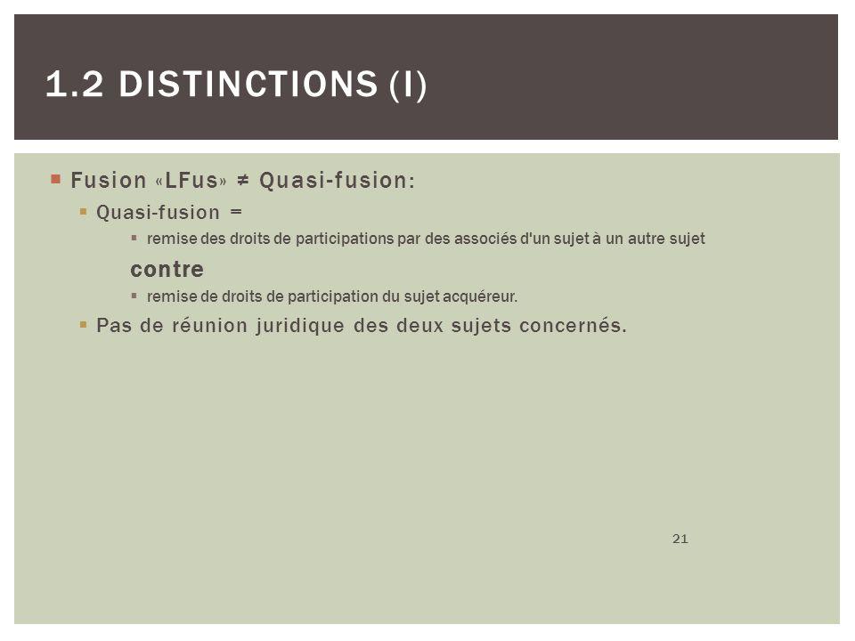 Fusion «LFus» Quasi-fusion: Quasi-fusion = remise des droits de participations par des associés d'un sujet à un autre sujet contre remise de droits de