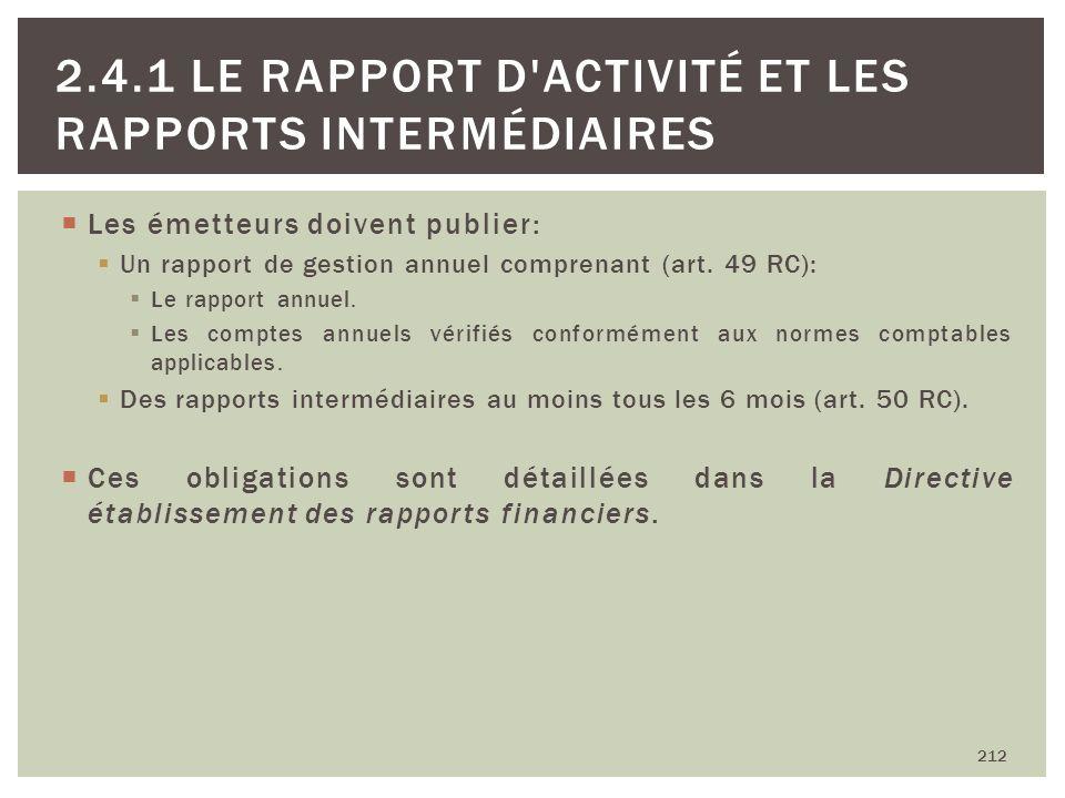 Les émetteurs doivent publier: Un rapport de gestion annuel comprenant (art. 49 RC): Le rapport annuel. Les comptes annuels vérifiés conformément aux