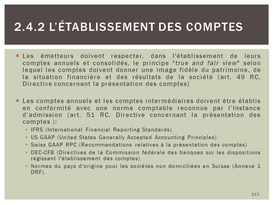 Les émetteurs doivent respecter, dans l'établissement de leurs comptes annuels et consolidés, le principe