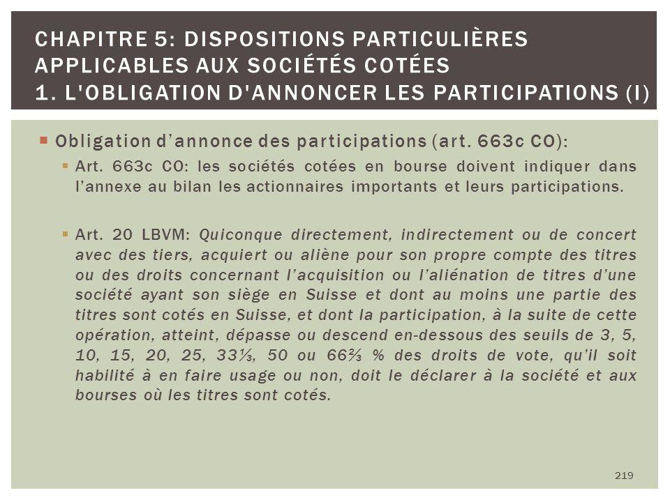 Obligation dannonce des participations (art. 663c CO): Art. 663c CO: les sociétés cotées en bourse doivent indiquer dans lannexe au bilan les actionna