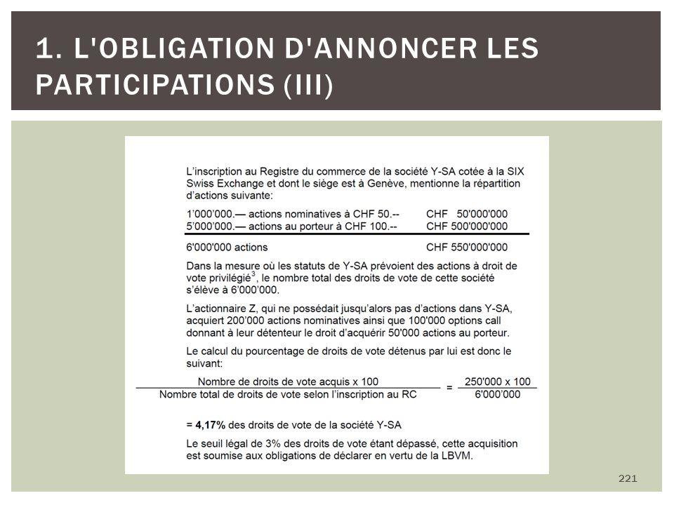 221 1. L'OBLIGATION D'ANNONCER LES PARTICIPATIONS (III)