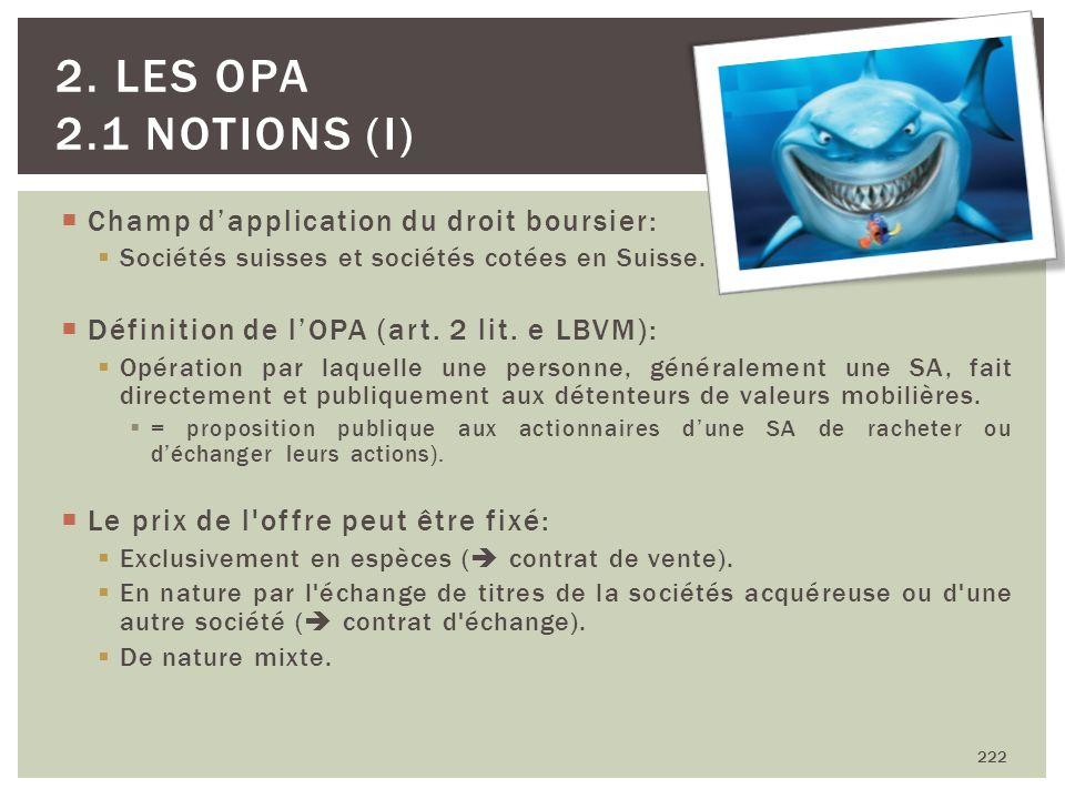 Champ dapplication du droit boursier: Sociétés suisses et sociétés cotées en Suisse. Définition de lOPA (art. 2 lit. e LBVM): Opération par laquelle u