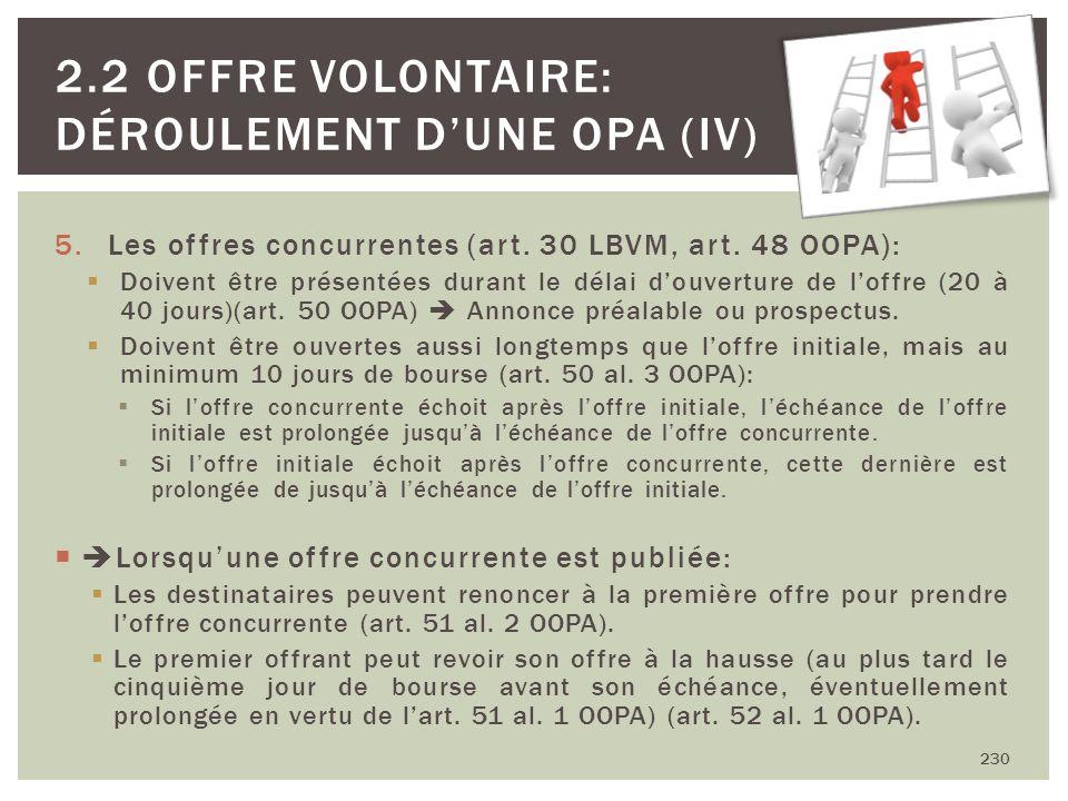 5.Les offres concurrentes (art. 30 LBVM, art. 48 OOPA): Doivent être présentées durant le délai douverture de loffre (20 à 40 jours)(art. 50 OOPA) Ann