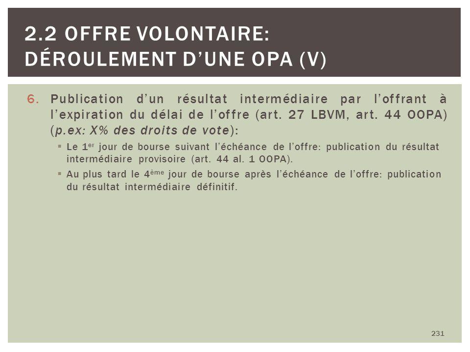 6.Publication dun résultat intermédiaire par loffrant à lexpiration du délai de loffre (art. 27 LBVM, art. 44 OOPA) (p.ex: X% des droits de vote): Le