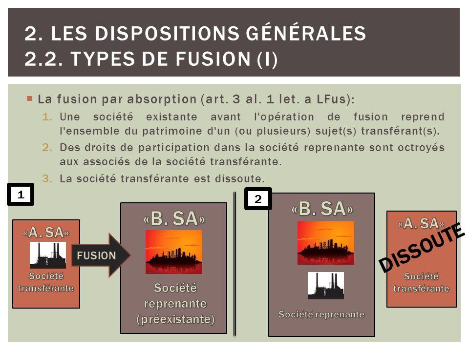 La fusion par absorption (art. 3 al. 1 let. a LFus): 1.Une société existante avant l'opération de fusion reprend l'ensemble du patrimoine d'un (ou plu