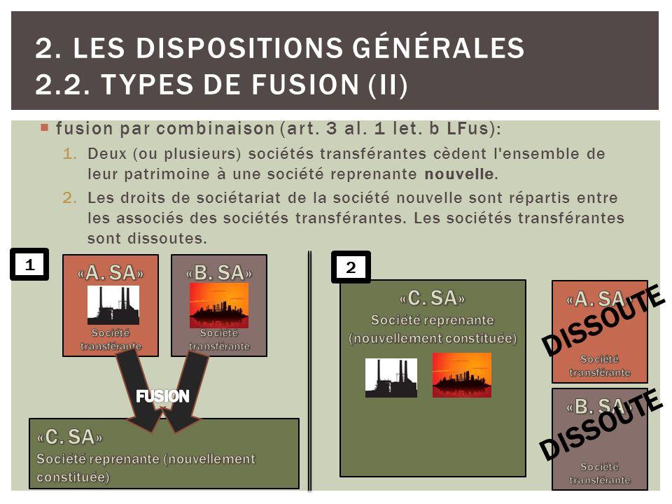 fusion par combinaison (art. 3 al. 1 let. b LFus): 1.Deux (ou plusieurs) sociétés transférantes cèdent l'ensemble de leur patrimoine à une société rep
