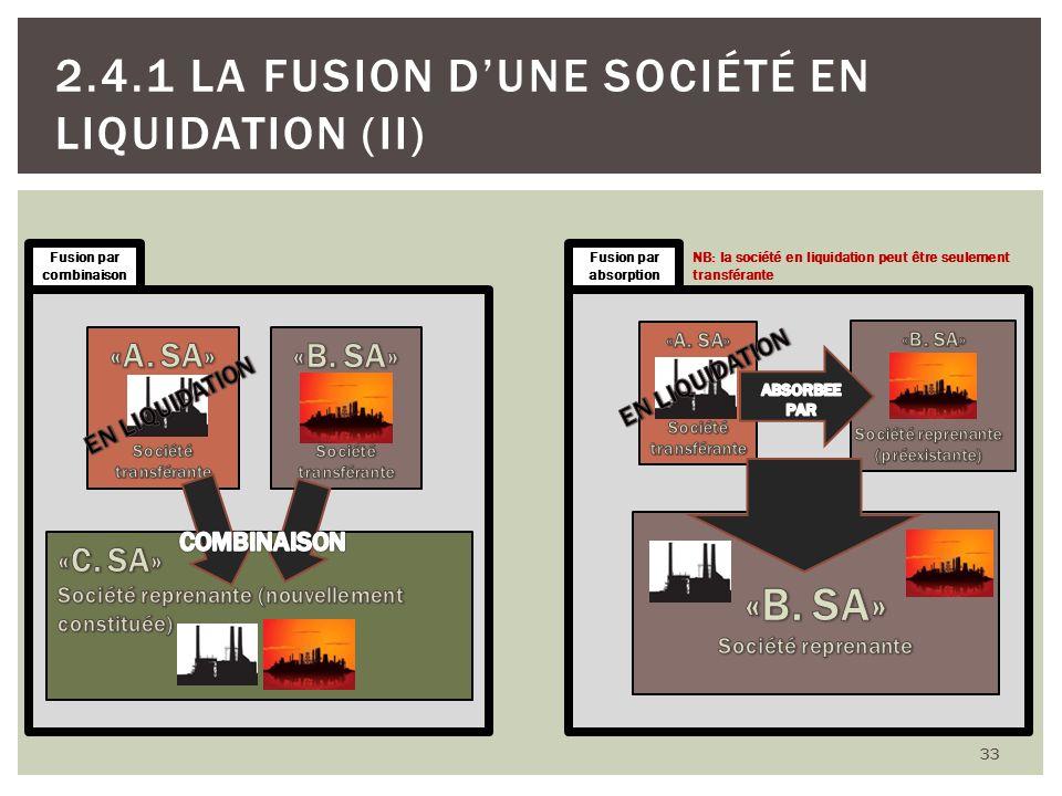 33 2.4.1 LA FUSION DUNE SOCIÉTÉ EN LIQUIDATION (II) 33 Fusion par combinaison Fusion par absorption NB: la société en liquidation peut être seulement