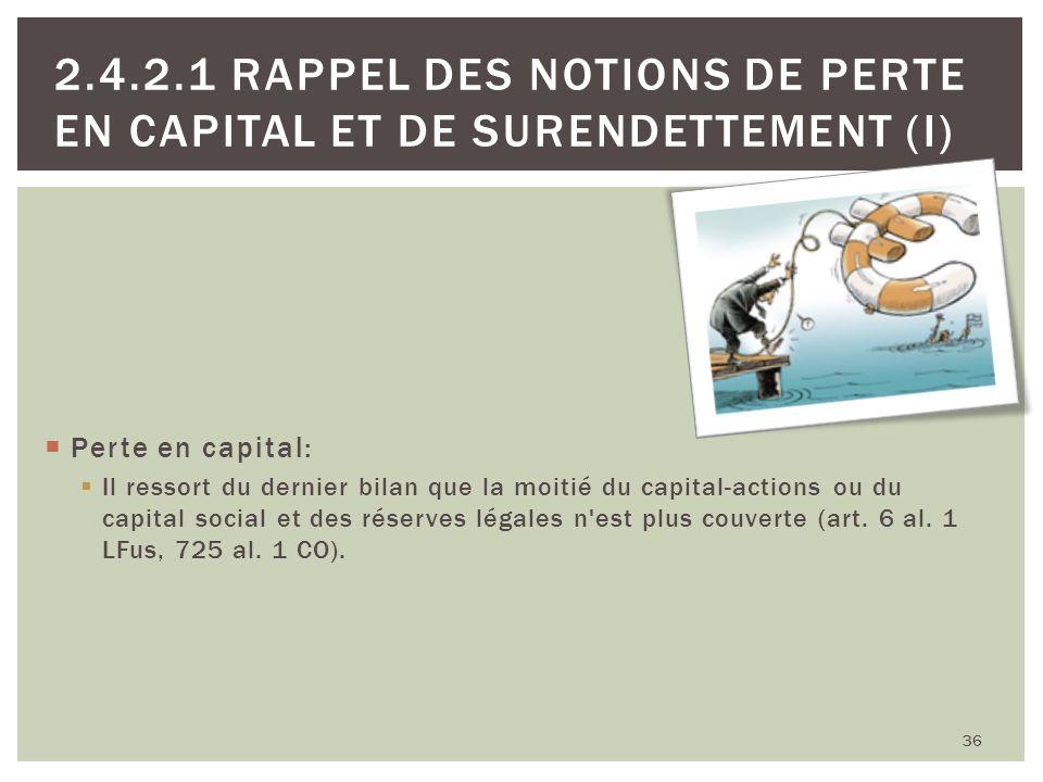 36 2.4.2.1 RAPPEL DES NOTIONS DE PERTE EN CAPITAL ET DE SURENDETTEMENT (I) Perte en capital: Il ressort du dernier bilan que la moitié du capital-acti