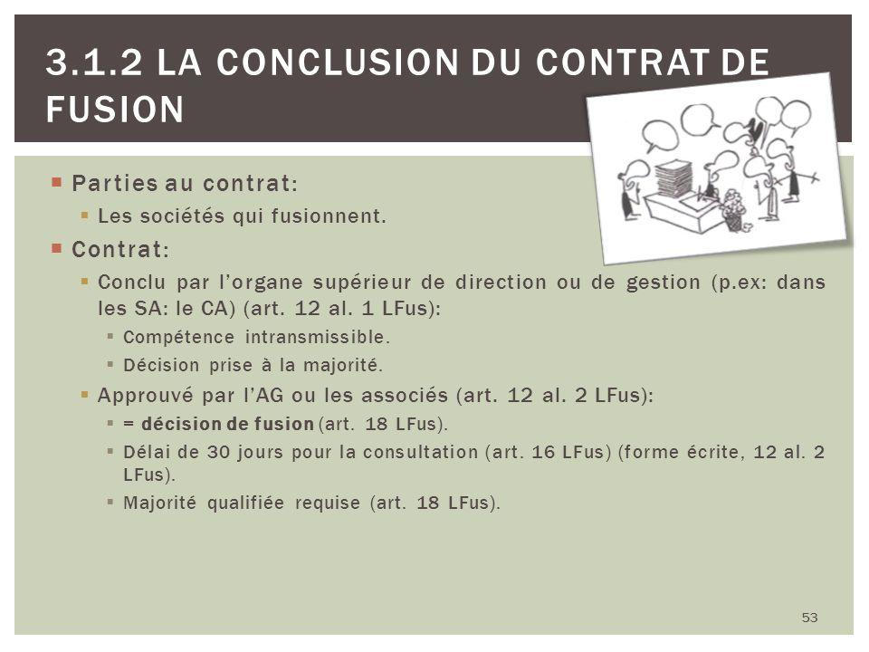 Parties au contrat: Les sociétés qui fusionnent. Contrat: Conclu par lorgane supérieur de direction ou de gestion (p.ex: dans les SA: le CA) (art. 12