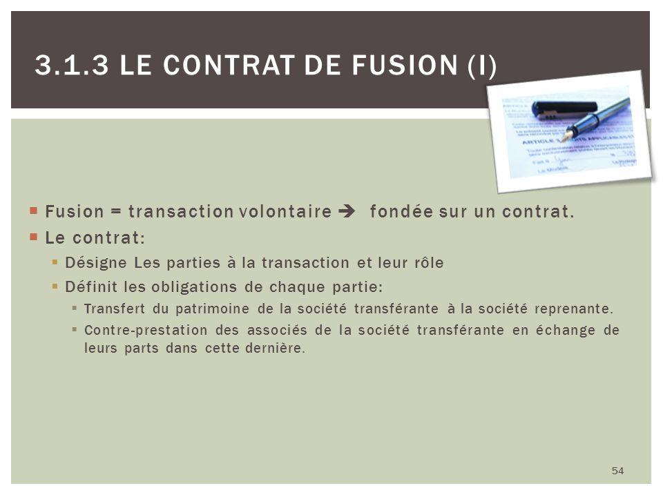 54 3.1.3 LE CONTRAT DE FUSION (I) Fusion = transaction volontaire fondée sur un contrat. Le contrat: Désigne Les parties à la transaction et leur rôle