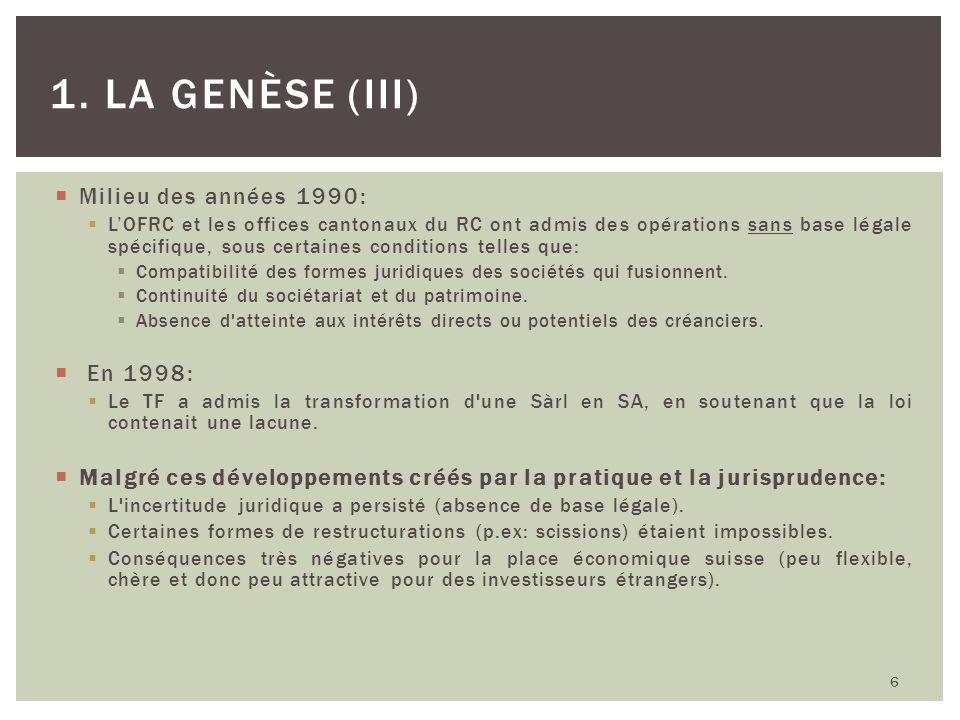 Milieu des années 1990: LOFRC et les offices cantonaux du RC ont admis des opérations sans base légale spécifique, sous certaines conditions telles qu