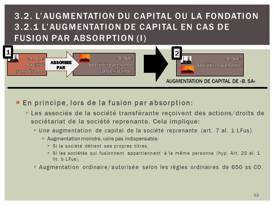 62 3.2. LAUGMENTATION DU CAPITAL OU LA FONDATION 3.2.1 LAUGMENTATION DE CAPITAL EN CAS DE FUSION PAR ABSORPTION (I) En principe, lors de la fusion par