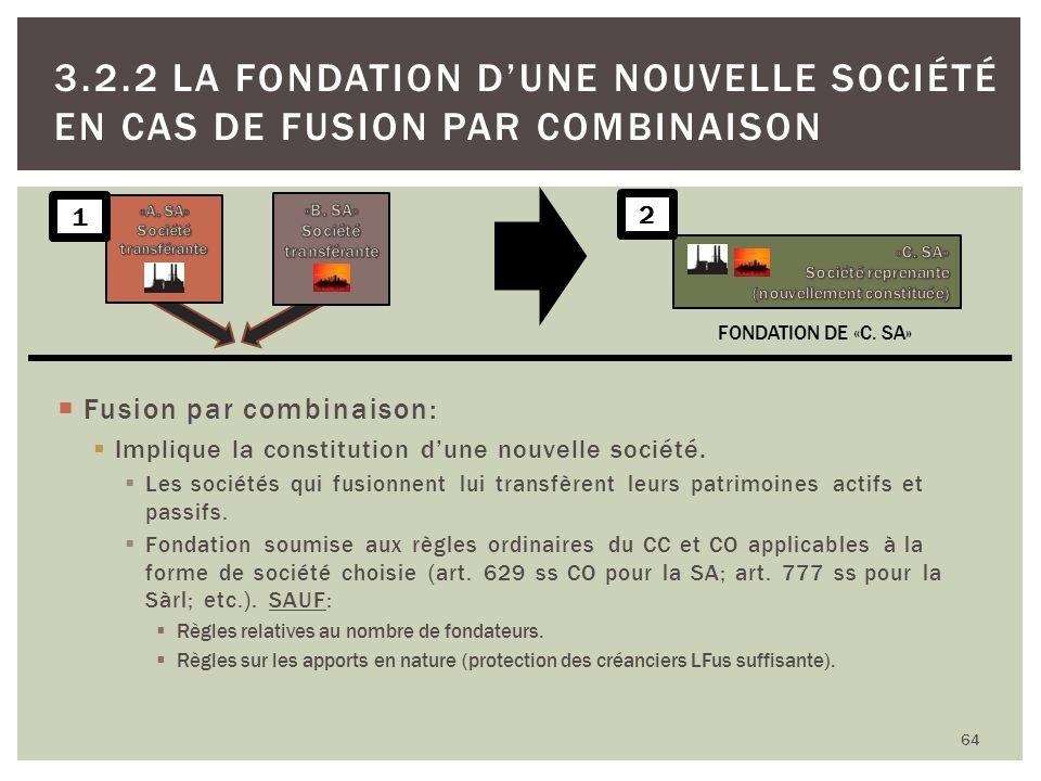 Fusion par combinaison: Implique la constitution dune nouvelle société. Les sociétés qui fusionnent lui transfèrent leurs patrimoines actifs et passif