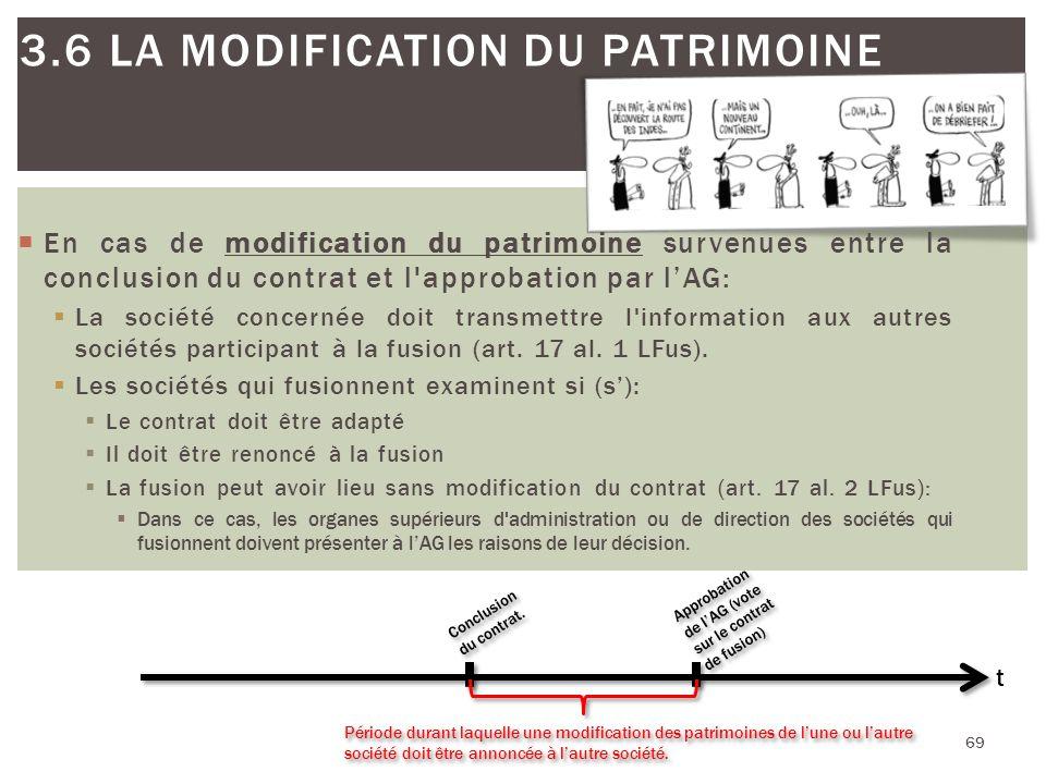 69 3.6 LA MODIFICATION DU PATRIMOINE 69 Conclusion du contrat. Période durant laquelle une modification des patrimoines de lune ou lautre société doit