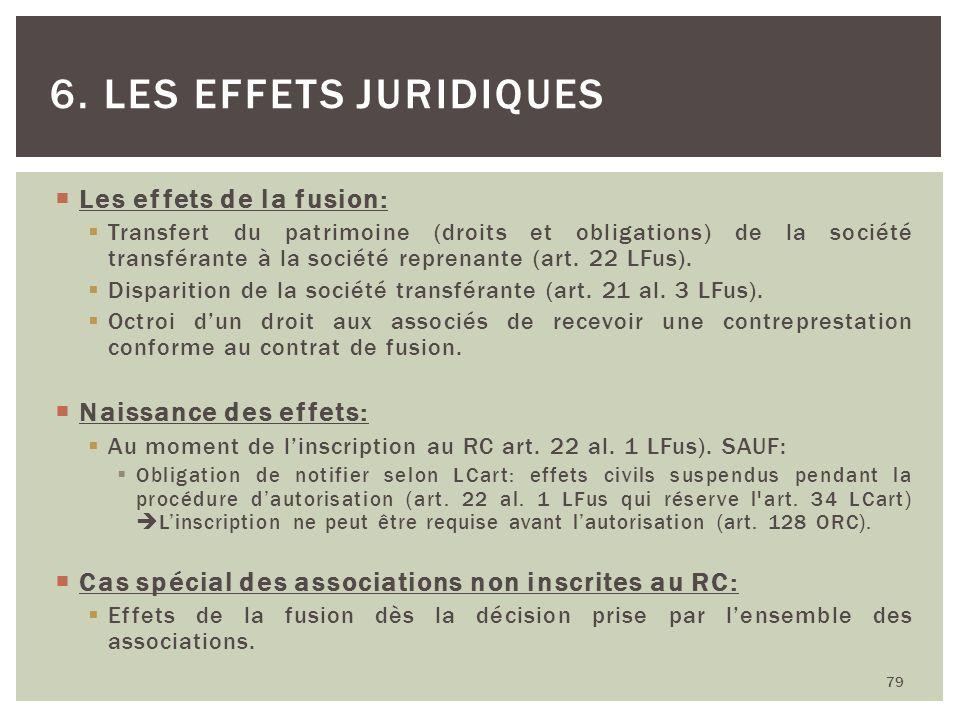 Les effets de la fusion: Transfert du patrimoine (droits et obligations) de la société transférante à la société reprenante (art. 22 LFus). Disparitio