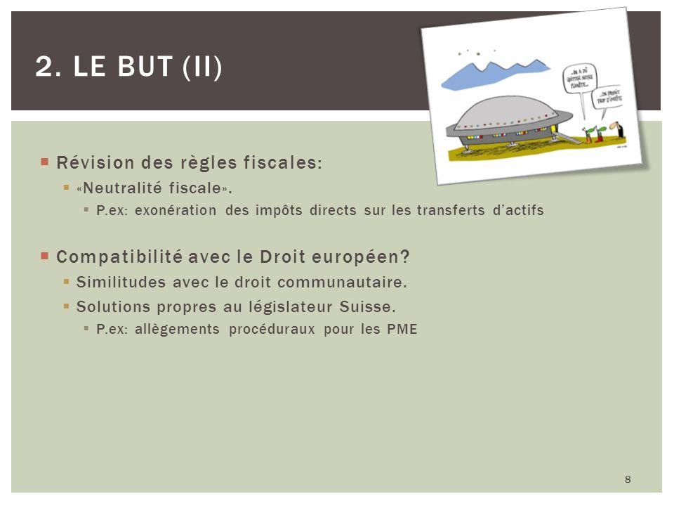 Révision des règles fiscales: «Neutralité fiscale». P.ex: exonération des impôts directs sur les transferts dactifs Compatibilité avec le Droit europé