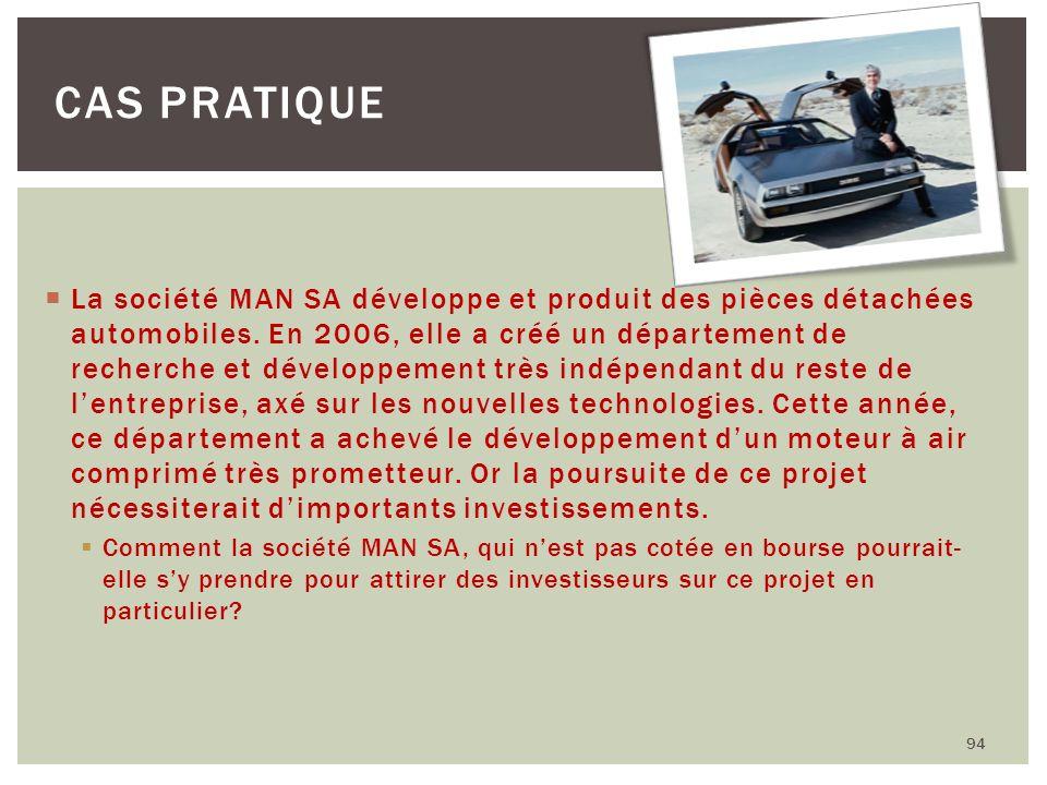 La société MAN SA développe et produit des pièces détachées automobiles. En 2006, elle a créé un département de recherche et développement très indépe
