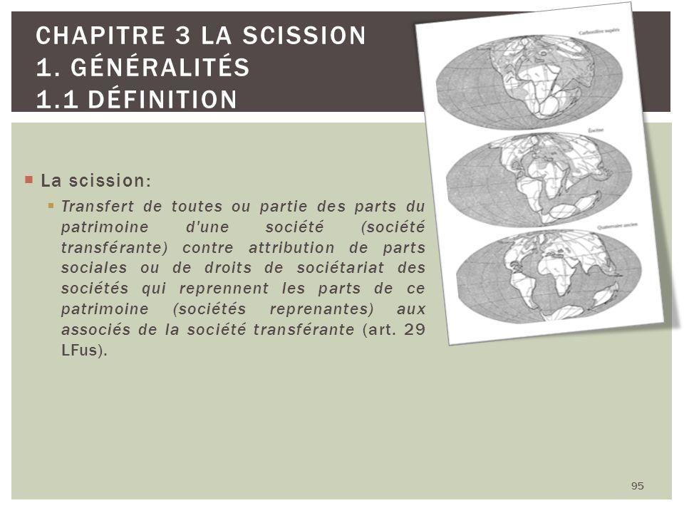 La scission: Transfert de toutes ou partie des parts du patrimoine d'une société (société transférante) contre attribution de parts sociales ou de dro