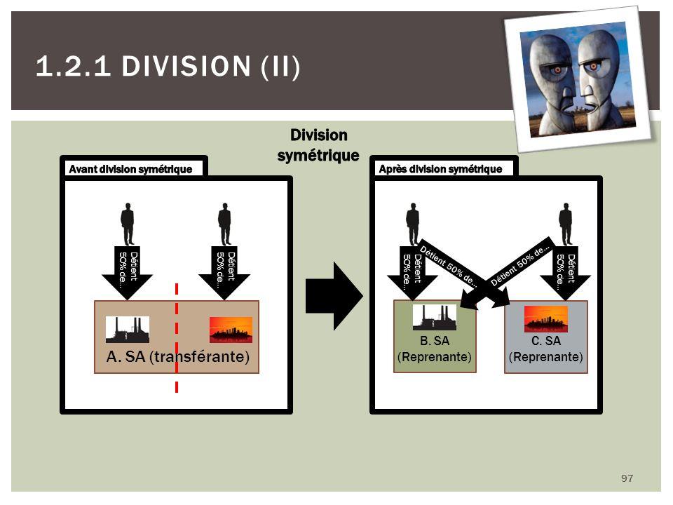97 1.2.1 DIVISION (II) A. SA (transférante) Détient 50% de… Détient 50% de… B. SA (Reprenante) C. SA (Reprenante) Détient 50% de… Détient 50% de… Déti