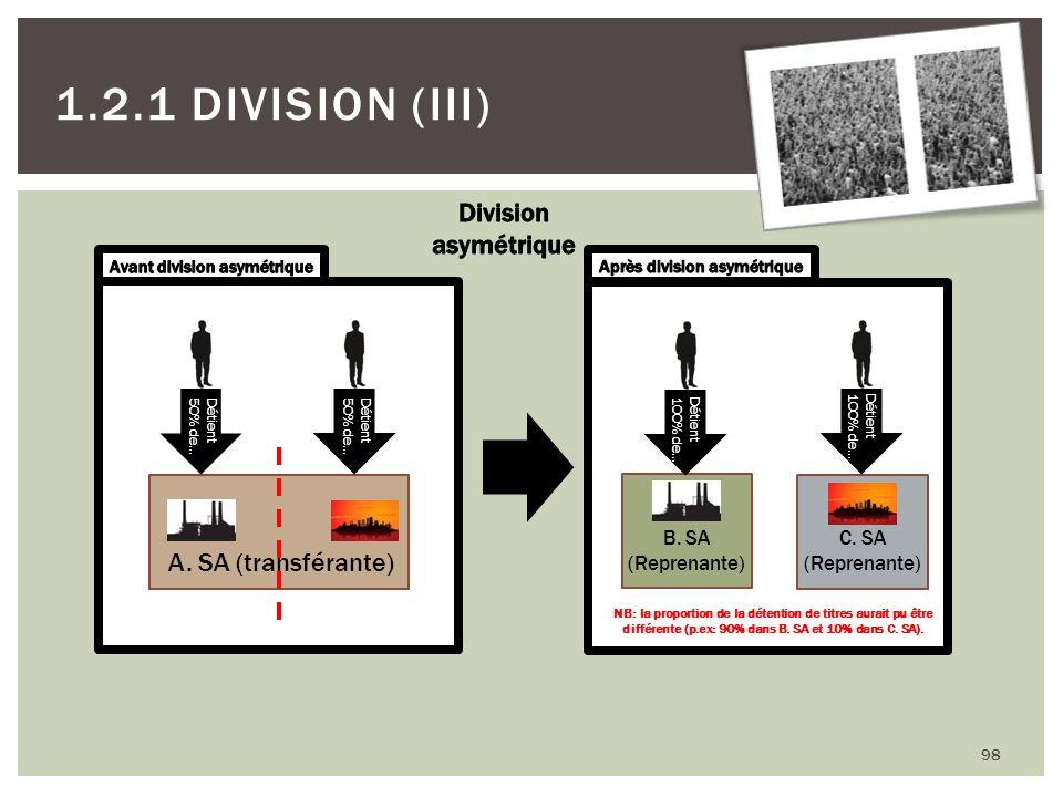 98 1.2.1 DIVISION (III) A. SA (transférante) Détient 50% de… Détient 50% de… B. SA (Reprenante) C. SA (Reprenante) Détient 100% de… Détient 100% de… N