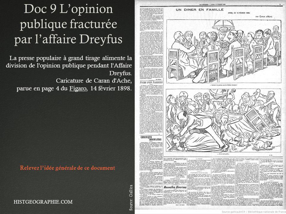 Doc 9 Lopinion publique fracturée par laffaire Dreyfus HISTGEOGRAPHIE.COM15 La presse populaire à grand tirage alimente la division de l'opinion publi