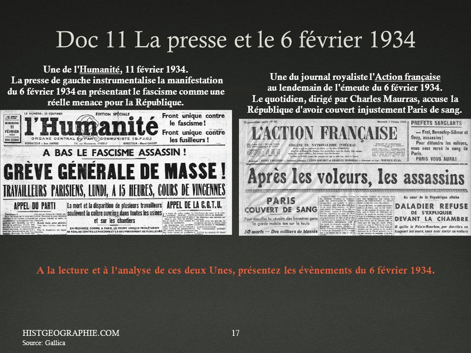 Doc 11 La presse et le 6 février 1934Doc 11 La presse et le 6 février 1934 HISTGEOGRAPHIE.COM17 Une du journal royaliste l'Action française au lendema