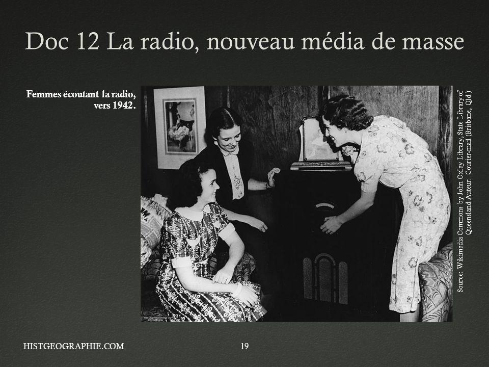 Doc 12 La radio, nouveau média de masseDoc 12 La radio, nouveau média de masse HISTGEOGRAPHIE.COM19 Femmes écoutant la radio, vers 1942. Source: Wikim