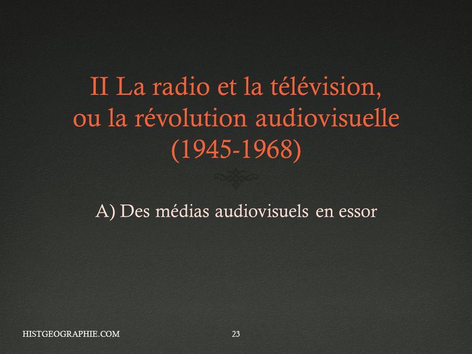 II La radio et la télévision, ou la révolution audiovisuelle (1945-1968) A) Des médias audiovisuels en essor HISTGEOGRAPHIE.COM23
