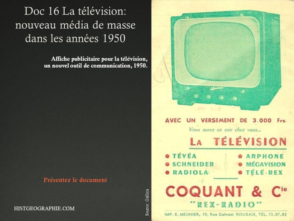 Doc 16 La télévision: nouveau média de masse dans les années 1950 HISTGEOGRAPHIE.COM Affiche publicitaire pour la télévision, un nouvel outil de commu
