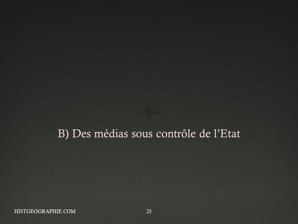 B) Des médias sous contrôle de lEtat HISTGEOGRAPHIE.COM25