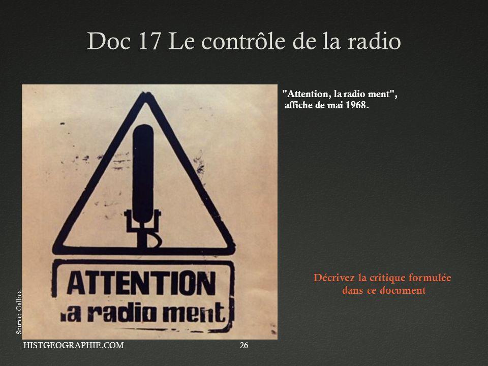 Doc 17 Le contrôle de la radioDoc 17 Le contrôle de la radio HISTGEOGRAPHIE.COM26