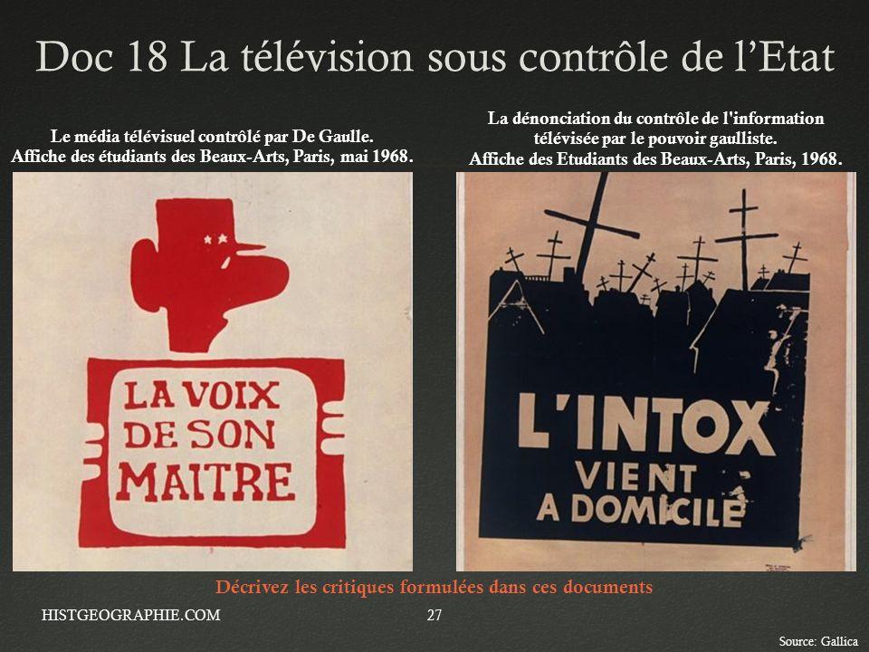 Doc 18 La télévision sous contrôle de lEtatDoc 18 La télévision sous contrôle de lEtat HISTGEOGRAPHIE.COM27 Le média télévisuel contrôlé par De Gaulle
