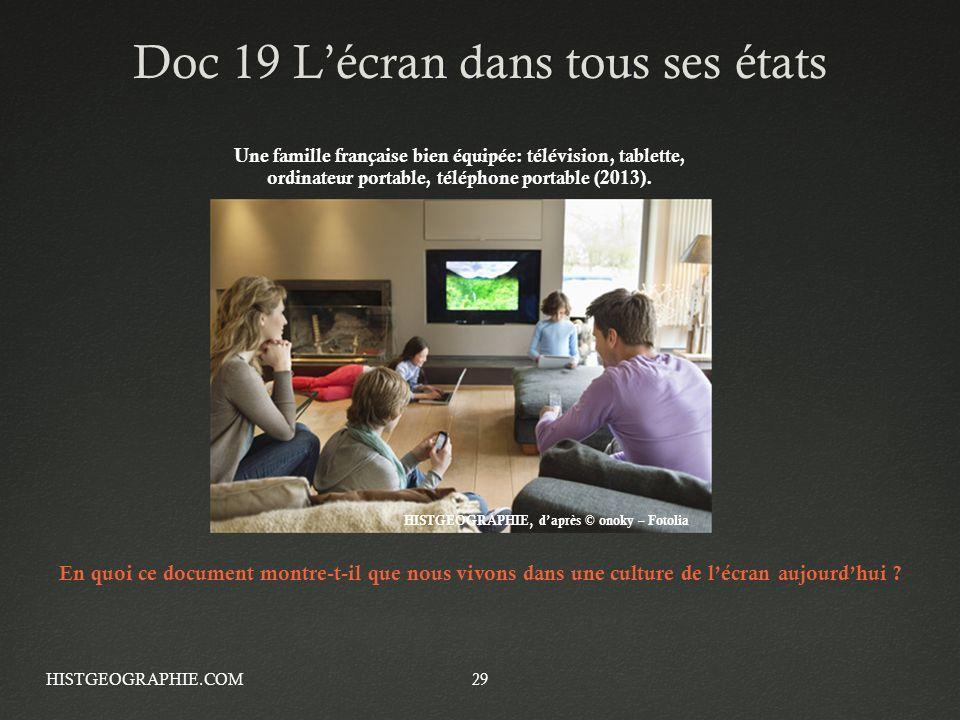 29 Doc 19 Lécran dans tous ses étatsDoc 19 Lécran dans tous ses états Une famille française bien équipée: télévision, tablette, ordinateur portable, t