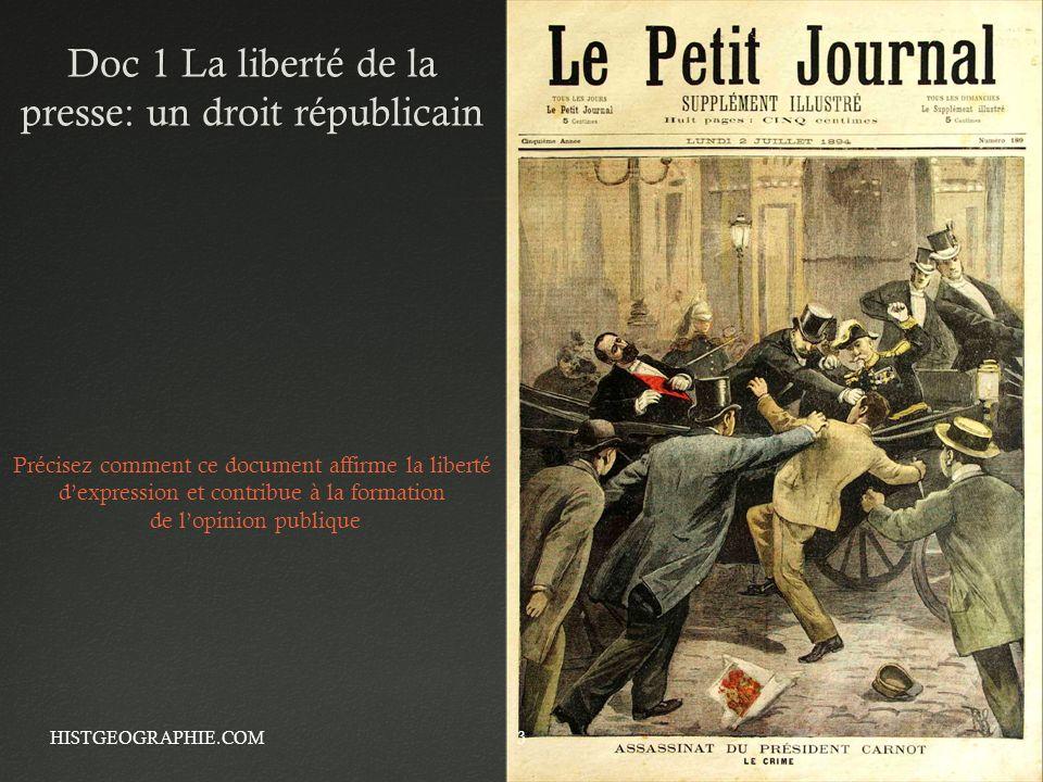 Doc 1 La liberté de la presse: un droit républicain HISTGEOGRAPHIE.COM3 Précisez comment ce document affirme la liberté dexpression et contribue à la