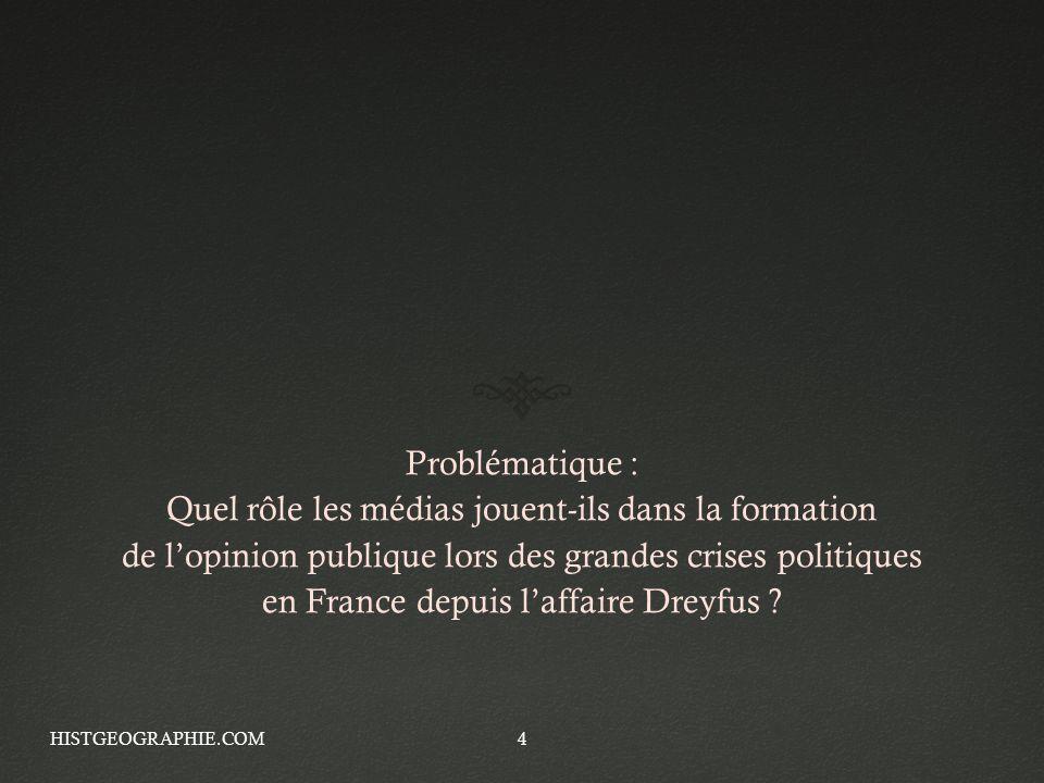 Problématique : Quel rôle les médias jouent-ils dans la formation de lopinion publique lors des grandes crises politiques en France depuis laffaire Dr