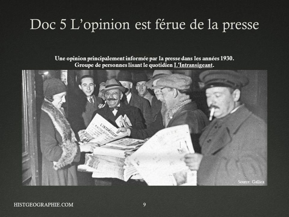 Doc 5 Lopinion est férue de la presseDoc 5 Lopinion est férue de la presse HISTGEOGRAPHIE.COM9 Une opinion principalement informée par la presse dans
