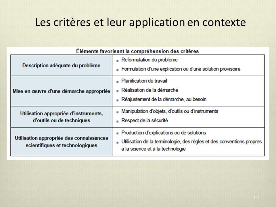 Les critères et leur application en contexte 11