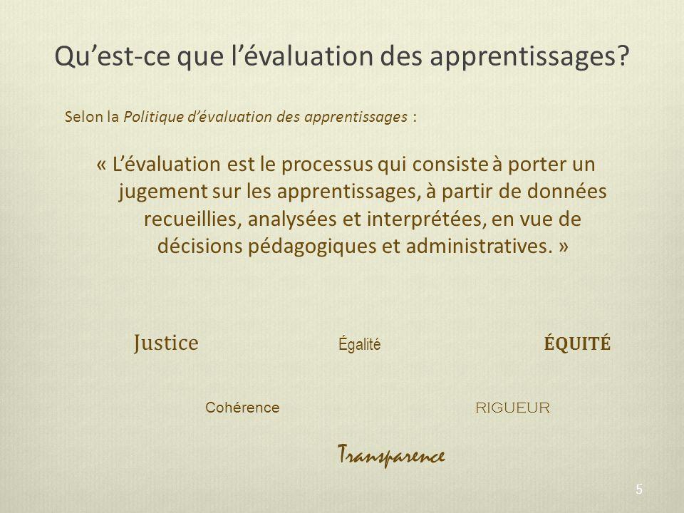 Quest-ce que lévaluation des apprentissages? Selon la Politique dévaluation des apprentissages : « Lévaluation est le processus qui consiste à porter
