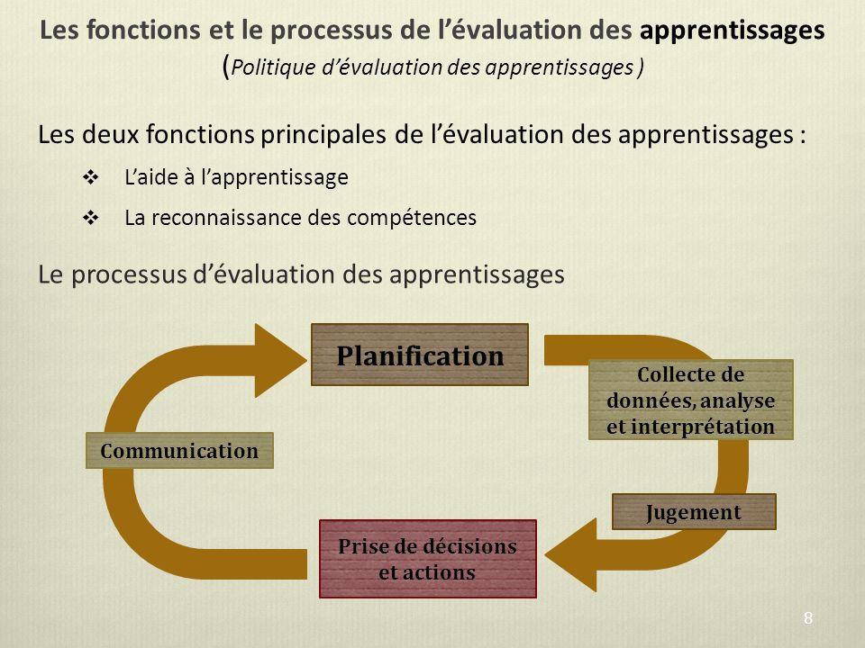 Les fonctions et le processus de lévaluation des apprentissages ( Politique dévaluation des apprentissages ) Les deux fonctions principales de lévalua