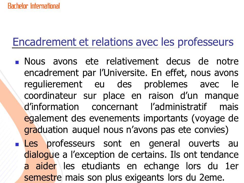 Encadrement et relations avec les professeurs Nous avons ete relativement decus de notre encadrement par lUniversite.