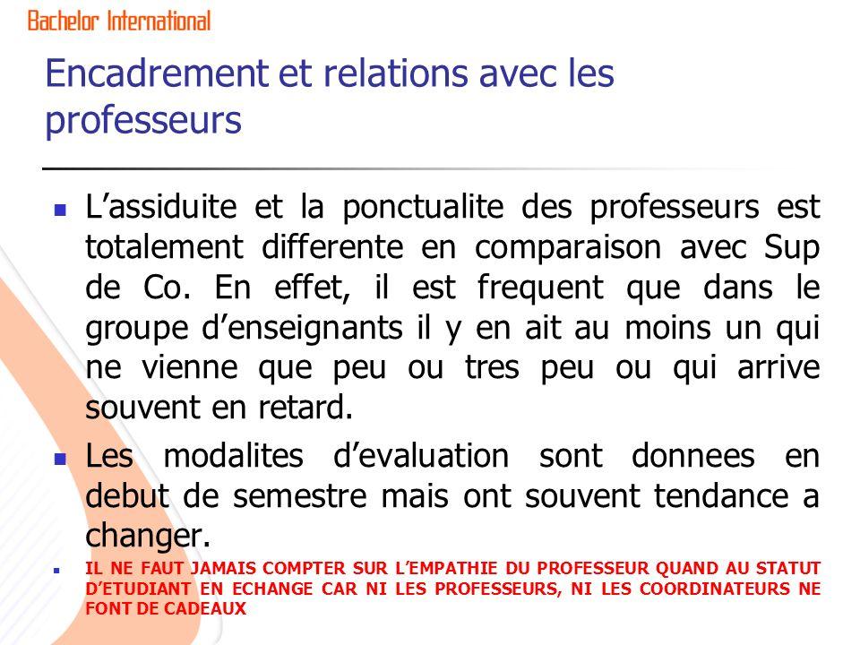 Encadrement et relations avec les professeurs Lassiduite et la ponctualite des professeurs est totalement differente en comparaison avec Sup de Co.