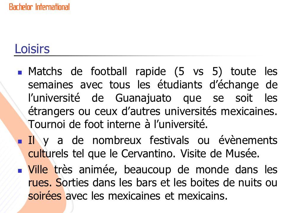 Loisirs Matchs de football rapide (5 vs 5) toute les semaines avec tous les étudiants déchange de luniversité de Guanajuato que se soit les étrangers ou ceux dautres universités mexicaines.
