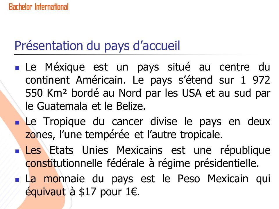 Présentation du pays daccueil Après sêtre fait conquis par les espagnoles depuis 1518, le Méxique proclame son indépendance le 15 septembre 1810, jour qui se fête chaque année.