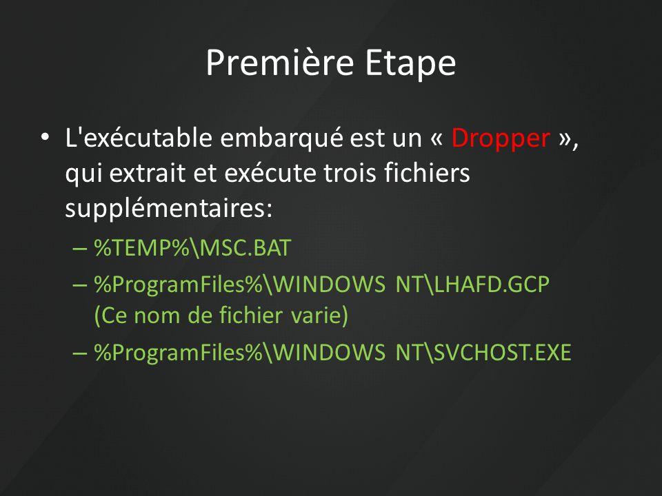 Première Etape L'exécutable embarqué est un « Dropper », qui extrait et exécute trois fichiers supplémentaires: – %TEMP%\MSC.BAT – %ProgramFiles%\WIND