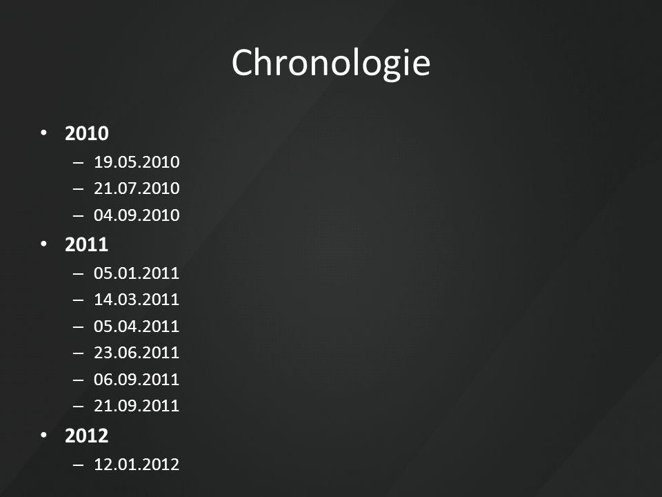 Chronologie 2010 – 19.05.2010 – 21.07.2010 – 04.09.2010 2011 – 05.01.2011 – 14.03.2011 – 05.04.2011 – 23.06.2011 – 06.09.2011 – 21.09.2011 2012 – 12.0