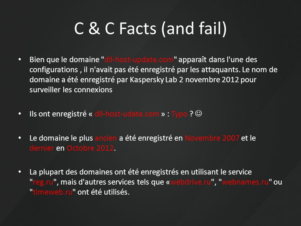 C & C Facts (and fail) Bien que le domaine