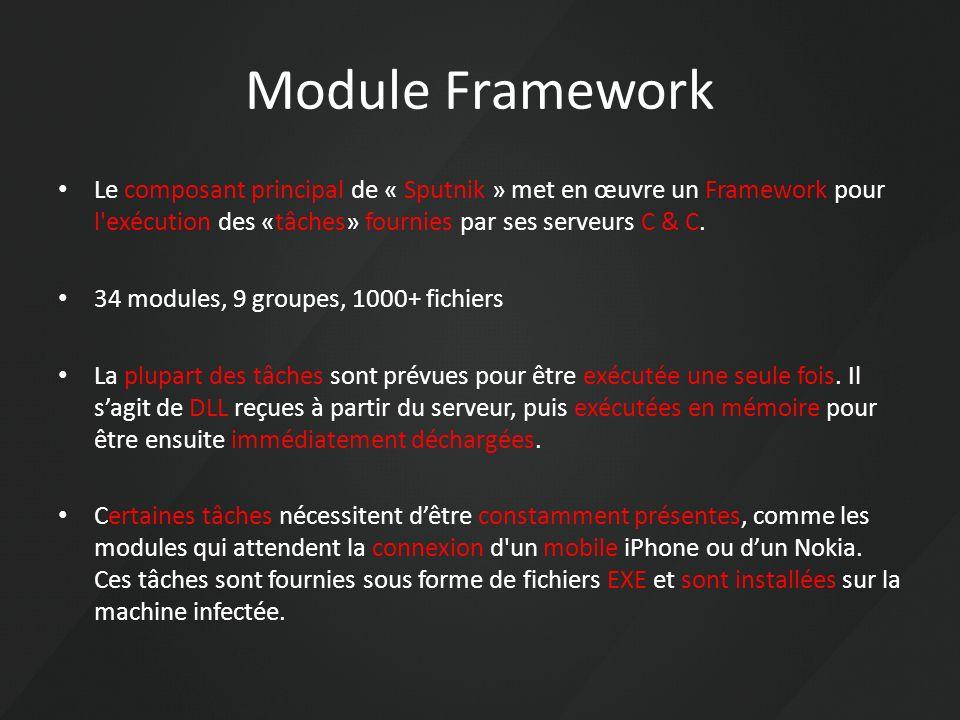 Module Framework Le composant principal de « Sputnik » met en œuvre un Framework pour l'exécution des «tâches» fournies par ses serveurs C & C. 34 mod