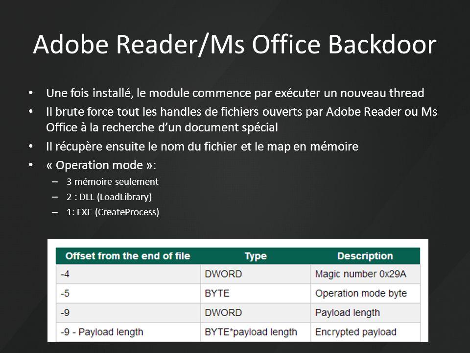 Une fois installé, le module commence par exécuter un nouveau thread Il brute force tout les handles de fichiers ouverts par Adobe Reader ou Ms Office