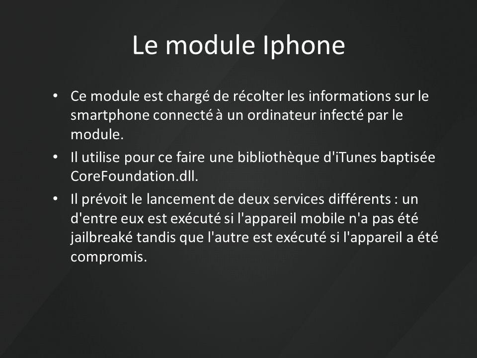 Le module Iphone Ce module est chargé de récolter les informations sur le smartphone connecté à un ordinateur infecté par le module. Il utilise pour c